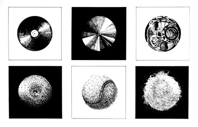 Drawing Exercise from Design Essentials book - draw 6 circular objects with the same drawing implement achieving different textures for each