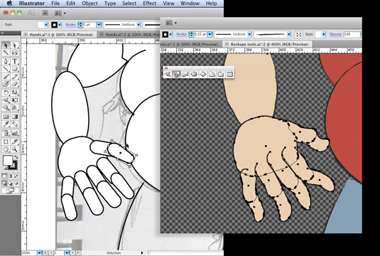 Using primitive shapes in Adobe Illustrator to create complex body shapes © Angie Taylor 2010