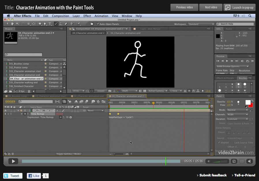 Hand-drawn animation with After Effects Paint tools