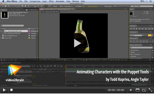 Animating characters with the puppet tool
