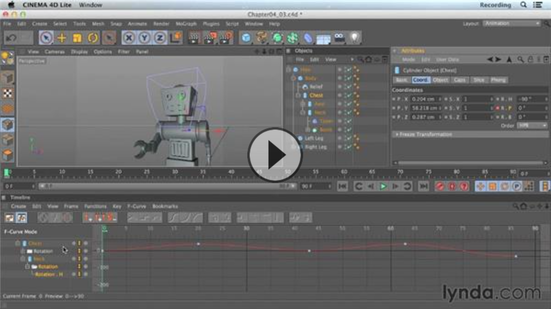 Keyframe interpolation in Cinema 4D